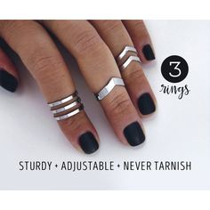 Knuckle ring set gift for her Double chevron midi ring set arrow rings... (30 CHF) ❤ liked on Polyvore featuring jewelry, rings, midi rings jewelry, silver knuckle rings, mid-finger rings, knuckle midi ring and top finger rings