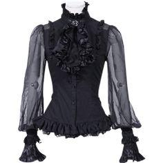 Gothic Medieval Vampire Lace Jabot Shirt White Black 46 48 50 52 54 56