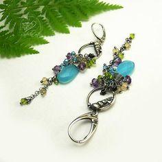 Blue Chalcedony Dangle Earrings Gemstone Earrings Silver Sea