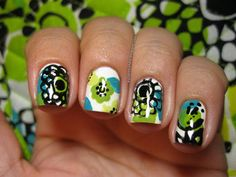 Vera Bradley Lime's up inspired nails!!!