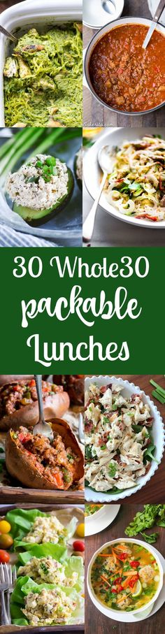 30 Packable Lunches you can bring to work school or anytime you'll be away from home plus what to pack your lunch in! All lunches are paleo friendly gluten free dairy free sugar free. Whole 30 Meal Plan, Whole 30 Lunch, Whole 30 Diet, Paleo Whole 30, Whole 30 Recipes, Paleo Recipes, Real Food Recipes, Quick Recipes, Clean Eating Recipes
