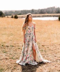Soft, whimsical Boho Bridesmaid Dresses by Morilee | Madeline Gardner. V Neck Off the Shoulder Floral Bridesmaid Dress with slit, style 21528. Photo by Kelcy Leigh Photography.