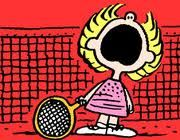 """Crybaby"" Boobie first appeared on July but was first referred to a few days earlier. She usually appears as Snoopy and Molly Volley's competitor in tennis matches. ""Crybaby"" Boobie usually wears a polka dotted tennis dress. Peanuts Cartoon, Cartoon Tv, Peanuts Snoopy, Tennis Doubles, Tennis Match, Tennis Party, Play Tennis, Tennis Shop, Tennis Serve"