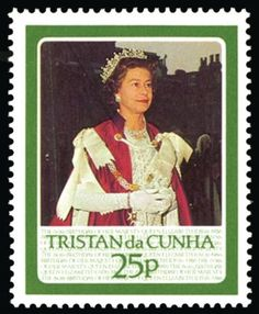 Tristan DA Cunha 1986 Unit weight: 0.001 kilograms 1986 25p Queen's 60th Birthday, error silver (cypher and logo) omitted, unmounted o.g. Rare.