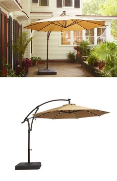 There's something special about this patio umbrella: It has small solar-powered LED lights embedded in it to provide a gentle glow at night. Of course it provides plenty of patio shade during the day too. - Patio Umbrellas - Ideas of Patio Umbrellas Best Patio Umbrella, Patio Umbrella Lights, Patio Umbrellas, Outside Umbrellas, Outdoor Umbrella, Diy Patio, Diy Pergola, Pergola Ideas, Patio Ideas
