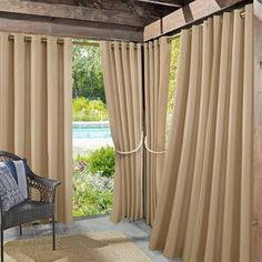 Beautiful Lutsen Solid Room Darkening Outdoor Grommet Single Curtain Panel by Ebern Designs Patio Garden Furniture from top store Outdoor Spaces, Outdoor Living, Indoor Outdoor, Garden Fence Panels, Solar Shades, Bamboo Fence, Decor Pillows, Drapes Curtains, Outdoor Curtains