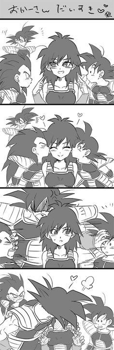 Bardock, Goku, Raditz, and Gine Dragon Ball Gt, Dragon Ball Image, Digimon, Anime Harem, Cute Dragons, Anime Love, Chibi, Fanart, Akira