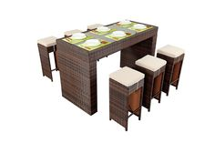 http://www.bonsoni.com/bonsoni-bar-dining-set-colour-brown-consists-of-a-large-glass-top-bar-and-six-bar-stools-with-cushions-to-maximise-comfort-rattan-garden-furniture  Material:Poly Rattan Table: L 180 x W 80 x H 110cm Stool (6x): L 36 x W 36 x H 77 cm  http://www.bonsoni.com/bonsoni-bar-dining-set-colour-brown-consists-of-a-large-glass-top-bar-and-six-bar-stools-with-cushions-to-maximise-comfort-rattan-garden-furniture