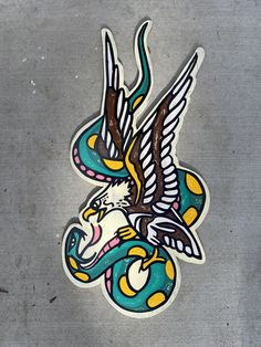 Eagle and snake custom hand painted sign tattoo sign sailor Jerry by on Etsy Leg Tattoos, Arm Tattoo, Tattos, American Traditional, Neo Traditional, Tattoo Signs, Finger Tats, Traditional Tattoo Flash, Geometric Tattoo Arm