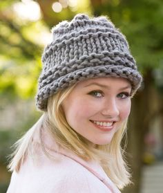 City Chic Hat Free Knitting Pattern in Red Heart Yarns