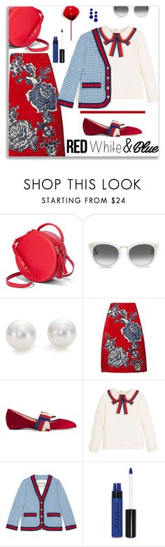 """""""Preppy 4th"""" by nineseventyseven ❤ liked on Polyvore featuring TOMS, Mikimoto, Bill Blass, Gucci, Smashbox, BaubleBar and 4thofjuly"""