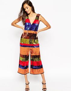 Image 1 of ASOS Jumpsuit in All Over Sequin Stripe