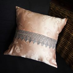 Salmon cushion cover with grey lace. 40 x 40 cm. € 10.00  uniquebymariska.nl