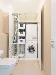 25 brilliant laundry room ideas for small spaces practical & efficient 4 - 25 brilliant laundry room ideas for small spaces practical & efficient 4 - Small Laundry Rooms, Laundry Room Design, Laundry In Bathroom, Small Bathroom, Laundry Cupboard, Laundry Room Cabinets, Laundry Closet, Basement Laundry, Utility Room Storage