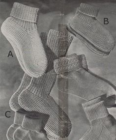 Knitted bed socks for women and children. Free knitting pattern.