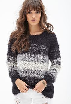 Shaggy Knit Striped Sweater | FOREVER21 - 2000102987