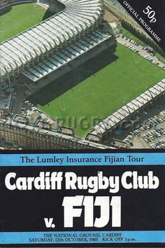 #rugby today 12/10 in 1985 : Cardiff 31-15 Fiji - rugby tour programme from Arms Pk