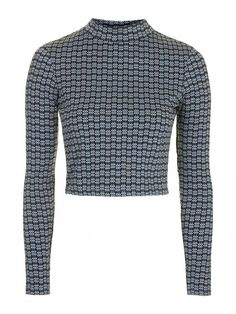 Topshop Geometric Print Funnel Neck Crop Top