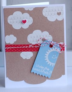 Under The Weather Card by Betsy Veldman for Papertrey Ink (July Cute Cards, Diy Cards, Scrapbook Cards, Scrapbooking, Weather Cards, Cool Paper Crafts, Beautiful Handmade Cards, Get Well Cards, Valentine Decorations