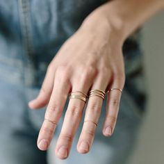 When in doubt start simple. Simple rings are easy to stack