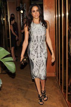 Meghan Markle wears the Herve Leger Elizabeth dress