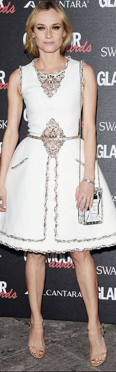 Diane Kruger: Dress and purse – Chanel  Jewelry – H Stern