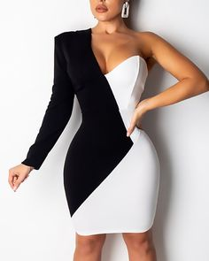 One Shoulder Two Tone Insert Bodycon Dress - Queen Outfits Dresses Elegant, Sexy Dresses, Evening Dresses, Short Dresses, Fashion Dresses, Formal Dresses, Summer Dresses, Wedding Dresses, Mini Dresses