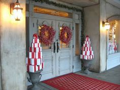 #christmas  decoration DIY    Stack of wrapped/painted boxes on either side of the front door!