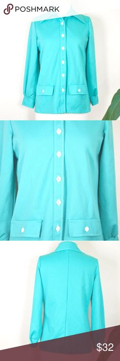 """Mid century turquoise blouse Peter Pan collar 60s lovely mid century turquoise poly blouse. two faux front pockets and single white stitching add cute detail. great quality top, pretty much wrinkle free! estimated to fit s/m best depending on desired fit. please note the color may be a little different than in the photos. excellent condition!  FEATURES label - NPC Fashions size listed - none  MEASUREMENTS laying flat, double where needed Shown on size S dressform  23 1/2"""" length 18 3/4"""" bust…"""