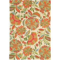 Sarasa Rug in coral (floral Pattern, Hooked Rugs) | Handmade Area Rugs from Company C