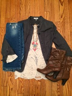 Ashley L: Perfectly Scrubbed Blog // Ashley pairs her statement necklace and lace top, both from Jane.com, with super cute boots and a jacket. Looks fab together! #veryjane