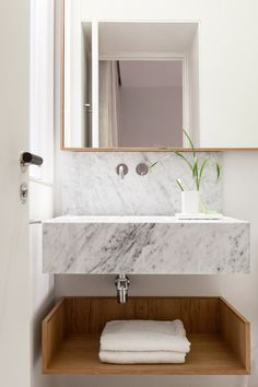 Minimal Interior Design Inspiration - UltraLinx Marble sink and wood open shelf storage Bad Inspiration, Bathroom Inspiration, Interior Design Inspiration, Design Ideas, Modern Bathroom Design, Bathroom Interior Design, Modern Interior Design, Bath Design, Bathroom Designs