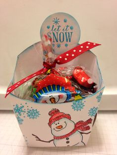 Stampin' Up Fry Box Used great Impressions Snowman stamp & Hero Arts snowflake cluster.