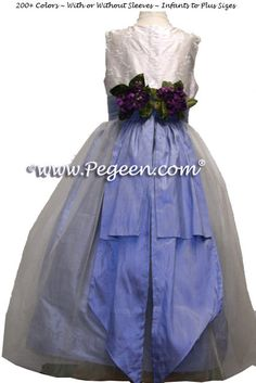 White embroidered bodice and ocean blue Silk and Organza Flower Girl Dress