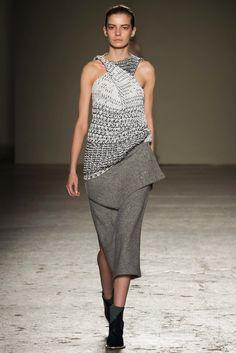 Gabriele Colangelo   Fall 2015 Ready-to-Wear   26 Monochrome sleeveless sweater and grey midi skirt