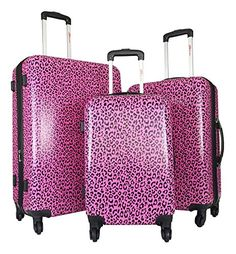 3pc Luggage Set Hardside Rolling 4wheel Spinner Carryon Travel Case Poly Pink Cheetah *** Check out the image by visiting the link.