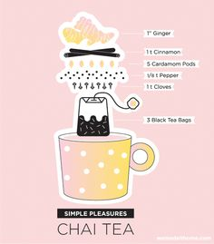 Chai Tea Recipe | We Made it Home (I would use loose tea and put it all in an infuser to steep - but I couldn't resist the graphic!! Cute)
