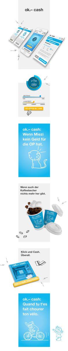 Markenkommunikation, Corporate Design, App Design und Printdesign für das Schweizer Produkt ok.– cash #branding #webdesign #appdesign #printdesign