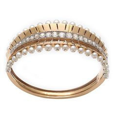 Natural Pearl, Diamond And 18k Gold French Bangle Bracelet   French  c. 1930