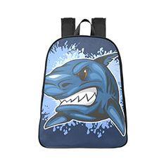 Amazon.com: Canvas Backpack Angry Shark Blue Funny Design Laptop Travel Daypack College Schoolbag: Fantasy Design