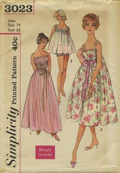 Vintage Sewing Pattern | Nightgown and Panties | Simplicity 3023 | Year 1959 | Bust 34 | Waist 26 | Hip 36