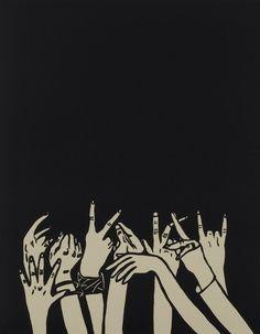 Rock Show - Jennifer Ament linocut Aesthetic Backgrounds, Aesthetic Iphone Wallpaper, Art Tumblr, Rock Hand, Band Wallpapers, Music Illustration, Art Watercolor, Aesthetic Art, Illustrations Posters