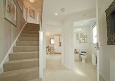 Taylor Wimpey - Lucet Meadow (Redditch) - Interior Designed Hallway. Fabulous modern idea for a small new home hallway. For a modern home, this is luxurious and quirky decorating - I adore it.