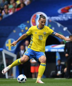 Sweden's forward Zlatan Ibrahimovic controls the ball during the Euro 2016 group E football match between Italy and Sweden at the Stadium Municipal...