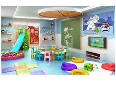 Indoor Playroom As Your Child's Playground 48 Daycare Rooms, Home Daycare, Decoration Creche, Indoor Playroom, Kid Playroom, Daycare Design, Indoor Playground, Kids Corner, Kid Spaces