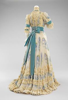 Dress, Afternoon  Jacques Doucet (French, Paris 1853–1929 Paris)  Date: 1900–1903 Culture: French Medium: silk, linen, rhinestones Dimensions: Length at CB (a): 19 in. (48.3 cm) Length at CB (b): 51 in. (129.5 cm) Credit Line: Brooklyn Museum Costume Collection at The Metropolitan Museum of Art, Gift of the Brooklyn Museum, 2009; Designated Purchase Fund, 1990