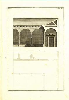 1760 Architectural Drawing Certosa di Padova Palladio Monastery Plan and Elevation Cloister and Refectoire