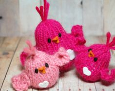 Knit Bird Family for Valentine's Day