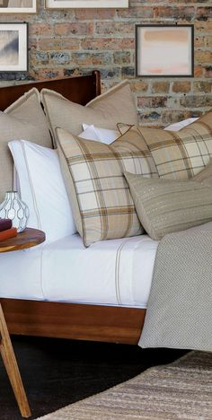 The Aldrich Bedding Collection assembles some of the most classic patterns and embellishments to create a timeless bedtop ensemble. Featuring neutral beige and tan tones and enduring plaid and Greek key designs, the woven fabrics pair beautifully with a range of other colors and patterns. Each piece is thoughtfully finished with details like faux leather cording, brush fringe or a tailored knife edge. #neutralbedding   #luxebedding  #luxurybedding #designerbedset #modernbedding #glamorous Rustic Quilts, Rustic Bedding, Western Bedding Sets, Neutral Bedding, Luxury Cabin, Eastern Accents, Lodge Style, Greek Key, Diy Pillows