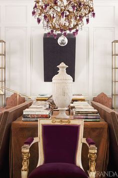 Skirted Table… Art and antiques span centuries in the richly textured great room.